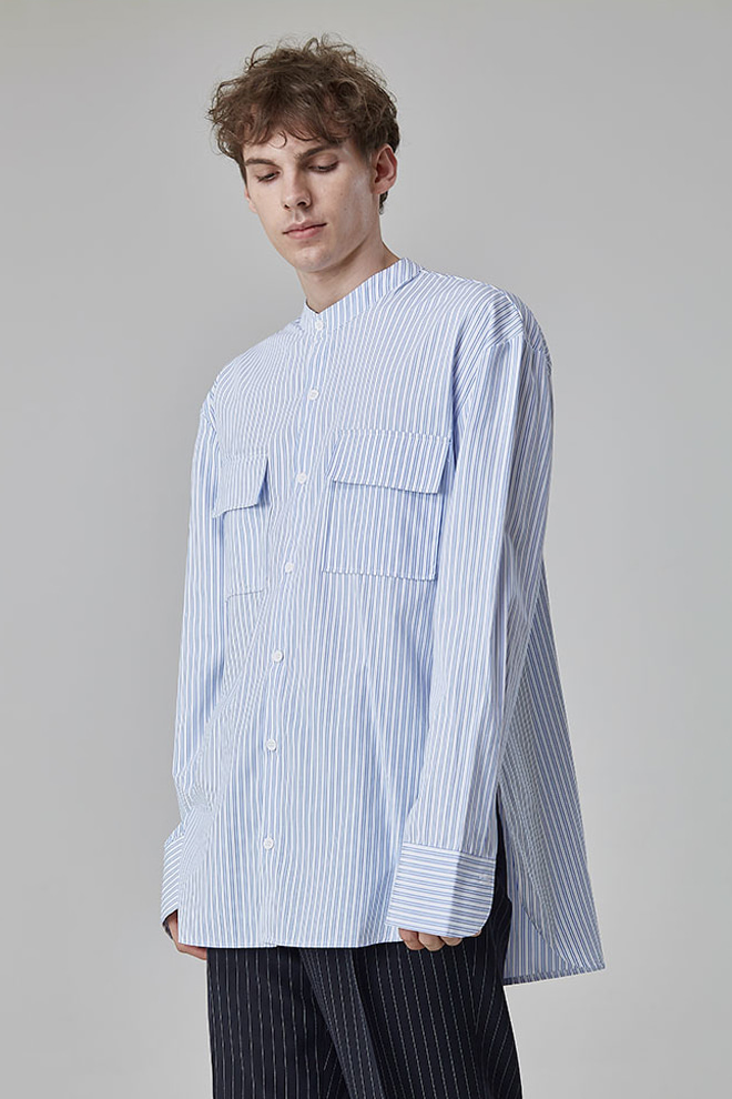 Striped Band Collar Button-Down Shirt