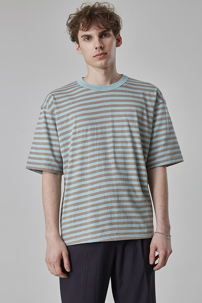 Elbow Sleeve Striped T-Shirt