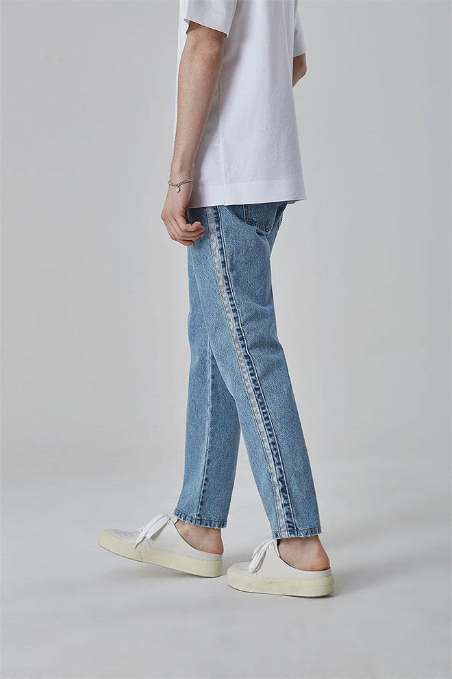 Straight-Cut Distressed Jeans