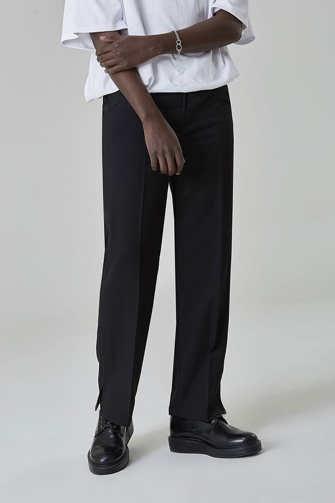 Straight-Cut Pull-On Pants