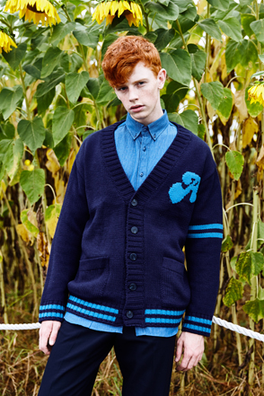 AWESOME IMAGINATION A SYMBOL OVERFIT CARDIGAN Navy