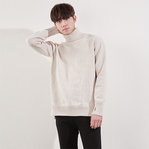 Rolled Turtleneck Ribbed Trim Sweater