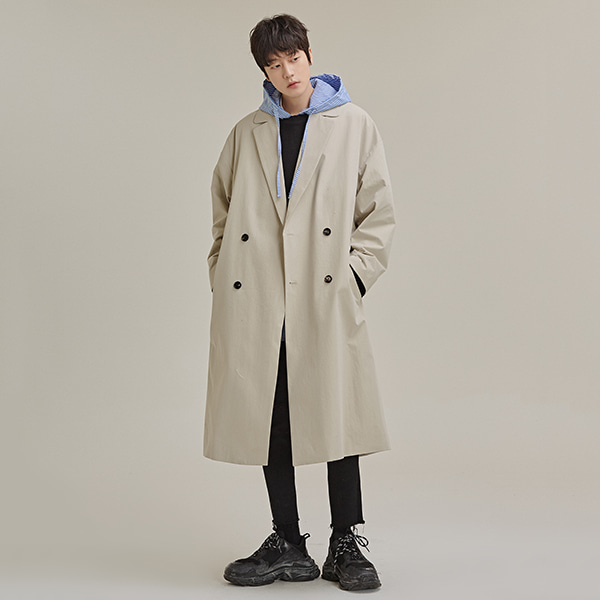 Drop Shoulder Double-Breasted Coat