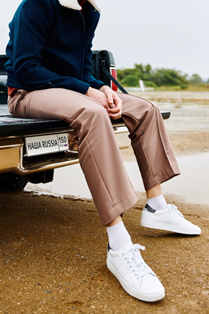 AWESOME IMAGINATION PINTUCK WIDE SLACKS Beige