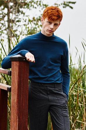 AWESOME IMAGINATION STANDARD WOOL HALF TURTLE NECK Blue-Green