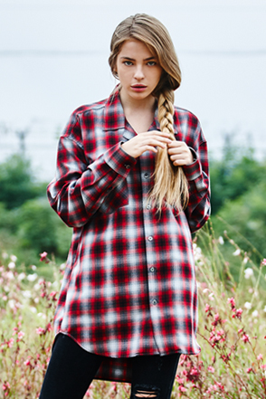 AWESOME IMAGINATION TAILORED LOOSE CHECK SHIRTS Red